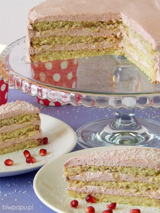 Kokosowo-malinowy tort urodzinowy bez cukru i glutenu